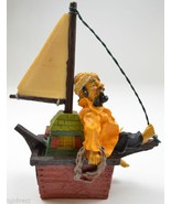 Fisherman Yellow Raincoat Sitting Sailboat Barefoot Sailor Resin Figurin... - $9.99