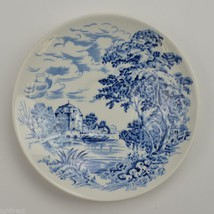 Enoch Wedgwood China Countryside Blue Pattern Flat Cup Saucer Retired Ta... - $3.99