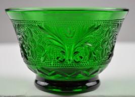 "Anchor Hocking Glass Sandwich Forest Green Pattern Custard Cup 2.375"" Glassware - $8.99"