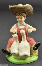 """Boy In Straw Hat Playing With The Ducks Ceramic Figurine 5"""" Tall Collect... - $9.99"""