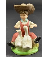 "Boy In Straw Hat Playing With The Ducks Ceramic Figurine 5"" Tall Collect... - $9.99"