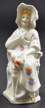 """Woman Wearing A White Bonnet Sitting In Chair Ceramic Figurine 5"""" Tall D... - $8.99"""