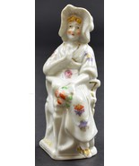 "Woman Wearing A White Bonnet Sitting In Chair Ceramic Figurine 5"" Tall D... - $8.99"