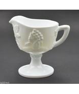 "Vintage Indiana Glass Harvest Milk Glass Pattern Creamer 3.875"" Tall Whi... - $9.99"