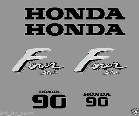 Honda 4 four stroke 90 hp outboard decals sticker set kit high quality df90