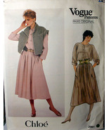Vogue 2991 Dress & Button Front Vest Sz 14 ONLY by Chloe - $6.99