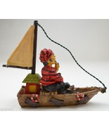 "Resin Figurine Fisherman Sailboat Wearing Red Shirt Boat Fish Nautical 7.375"" T - $9.99"
