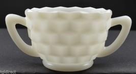 "Vintage Jeannette Milk Glass Cube White Pattern Open Sugar 2.375"" Tall Tea Decor - $6.99"