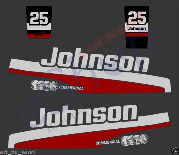Johnson 25 Hp Commercial Outboard Decals And 50 Similar Items