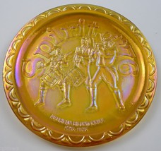 Indiana Glass Plate American Bicentennial Amber Carnival Spirit Of '76 Decor - $14.99