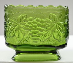 """Anchor Hocking Glass Planter Vintage Green Pattern 3.75"""" Tall Home Decor... - $12.99"""