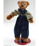 "Ganz Teddy Bear Flannel Shirt Blue Bibs 10"" Tall Cottage Collectibles Plush - $14.99"
