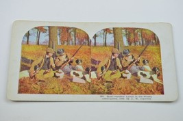 Stereoview By T. W. Ingersoll 464 Quail Hunters Lunch In The Woods Antiq... - $14.99