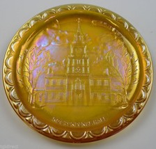 Indiana Glass Plate American Bicentennial Amber Carnival Independence Hall Decor - $14.99