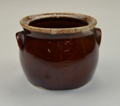 Vintage Hull Pottery Individual Bean Pot Brown Drip Pattern Oven Proof 3... - $14.99