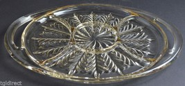Jeannette Glass Five Part Relish Dish Feather With Gold Accents Pattern Decor - $24.99