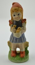 """Little Girl With Pigtails Holding Birds Ceramic Figurine 6.5"""" Tall Colle... - $17.99"""