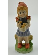 "Little Girl With Pigtails Holding Birds Ceramic Figurine 6.5"" Tall Colle... - $17.99"