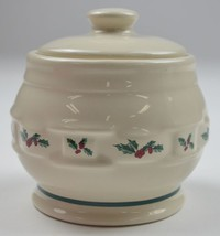 "Longaberger Pottery Holly Pattern Sugar Bowl & Lid 4"" Tall Holiday Chris... - $47.99"