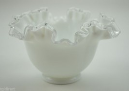 "Vintage Fenton Art Glass Crimped Bowl Silver Crest 4"" T Milk Glass Collectible - $41.99"
