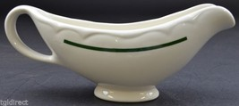 "Homer Laughlin China Gravy Boat Green Stripe No. AAA 1111 3.75"" Tall Rep... - $22.99"