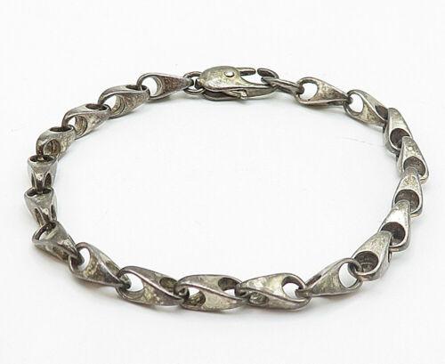 925 Sterling Silver - Vintage Petite Dark Tone Anchor Link Chain Bracelet- B5020