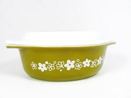 Pyrex Mid Century Spring Blossom Crazy Daisy  Green Casserole Dish Lidded 1.5 Qt - $44.54