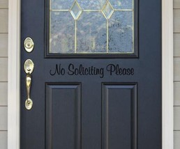"""No Soliciting Please Vinyl Sticker Decal 4.5""""h x 22""""w - $14.99"""