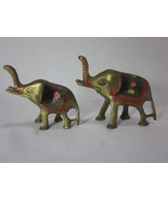 Pair of Small Brass Elephants with Beautiful Decorations - $19.79