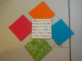 "50 4"" Pre-Cut Quilt Squares FAITH, HOPE, LOVE WORDS #55 - $9.88"