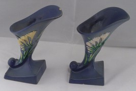 2 Matching Authentic 1940s Roseville Pottery 197-6 Blue Freesia Cornucop... - $47.17