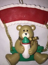 "Papel New 3.5"" Clay Dough Teddy Bear Christmas ornament baby bottle - $1.38"