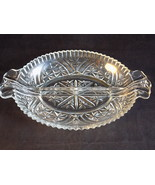 "VINTAGE 8"" DECORATIVE CUT GLASS CANDY NUT DISH Scalloped edge starburst ... - $9.89"