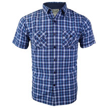 Overdrive Men's Cotton Plaid Button Up Casual Short Sleeve Slim Fit Dress Shirt image 15