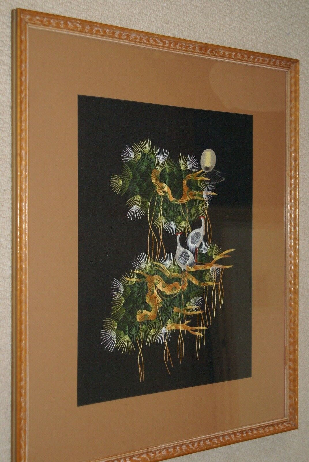 Hmong Floral Bouquet Silk Embroidery Museum Masterpiece Art Matted Framed 38x31-
