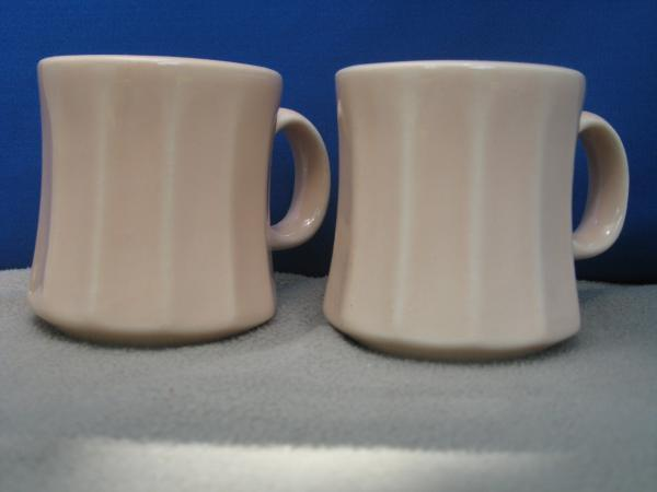 Pair of Homer Laughlin Peach Ribbed Coffee Mugs