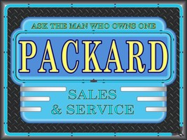PACKARD SALES DEALER MARQUEE NEON STYLE PRINTED BANNER SIGN REMAKE ART 4/' X 3/'
