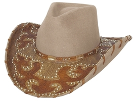 Bullhide Ultimate Cowgirl Wool Cowgirl Hat Whipstitched And Studded Brim Sand - £75.44 GBP