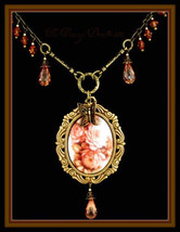 Rose Bouquet Victorian Style Porcelain Cameo Necklace w/ Crystal Briolettes - $79.15