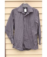 Men's CALVIN KLEIN Medium Dark Grey and Black striped 15.5 (32/33) Shirt - $29.20