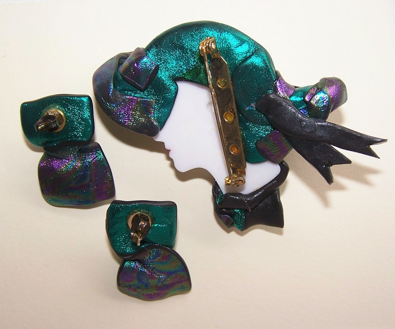 Lady Face Brooch with Earrings Mardi Gras Colors