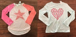Gap Kids Girls T-shirt 6 7 Green Pink Colorblock Graphic Sequin Heart St... - $14.84+
