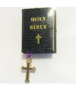 Dollhouse Black Bible w Cross Bookmark 4702 Black Jacqueline's Miniatures - $3.70