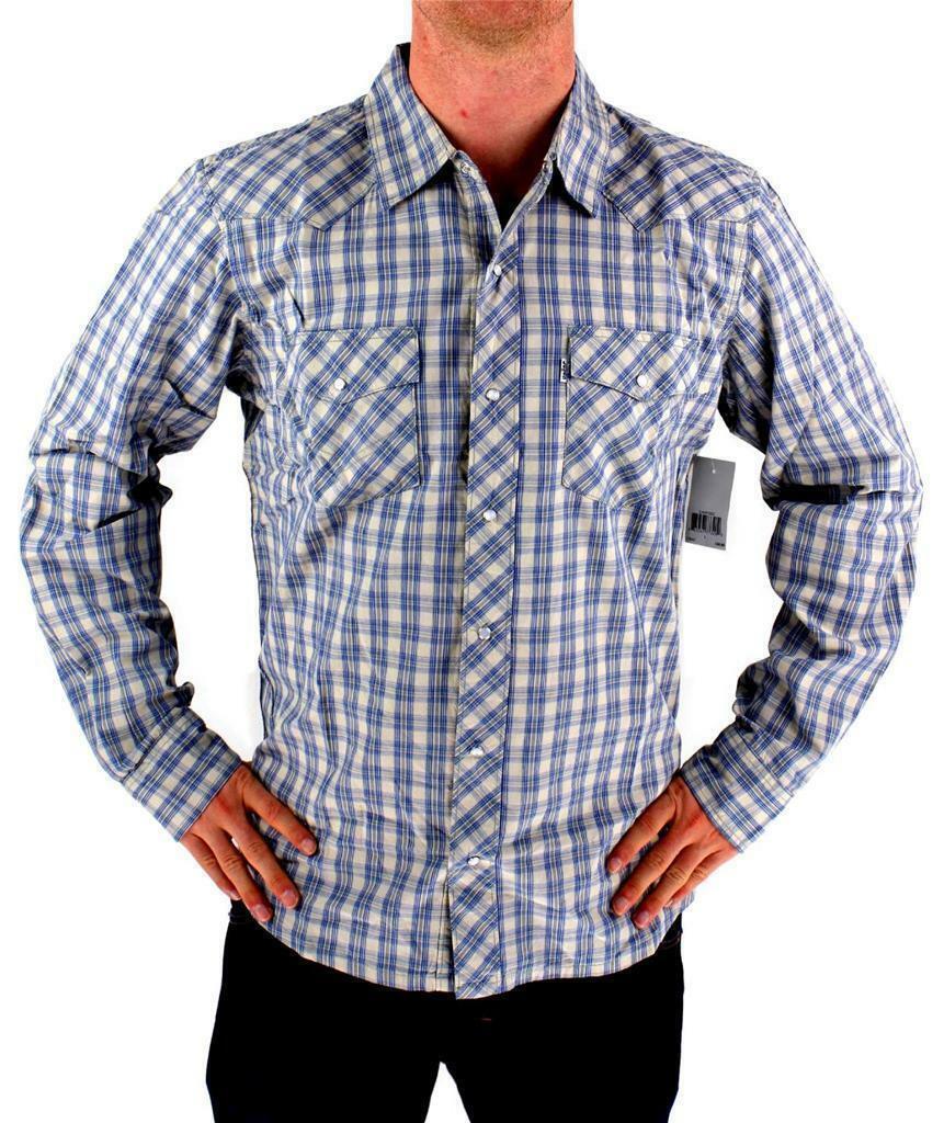 LEVI'S MEN'S LONG SLEEVE BUTTON UP CASUAL DRESS SHIRT GRAY 3LMLW120CC size XL