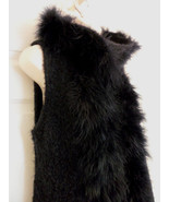 DOLCE CABO WOOL BLEND HOODIE VEST TRIMMED IN TURKEY FEATHERS BLACK SIZE ... - $36.14