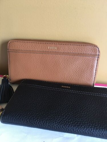 Fossil %Authentic BROWN TARA CLUTCH ZIP AROUND WALLET WITH TASSEL NWT