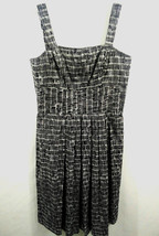Talbots Petite Womens Black & White Sleeveless Pleated A line Dress 100%... - $12.16