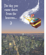 Cosmic Arrival: Funny Landing From Above Birthday Card - $5.00