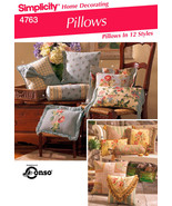 SEWING PATTERN Simplicity 4763 Decorative Designer THROW PILLOWS CUSHIONS  - $12.95