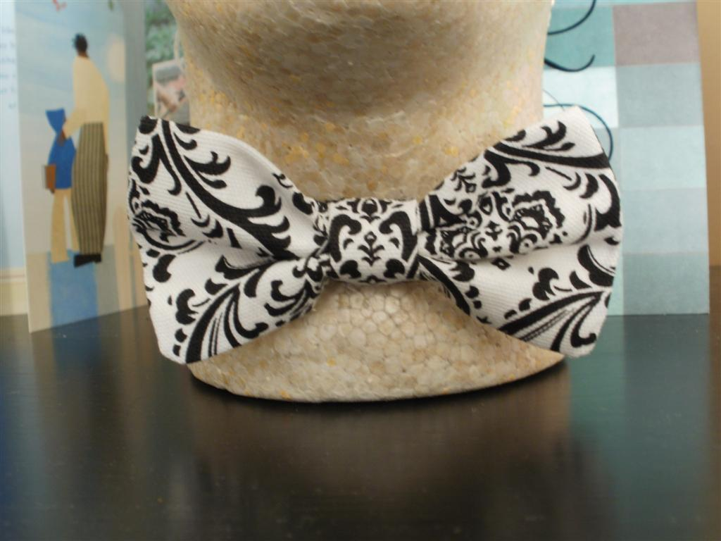 Damask Bow Tie  Boys Black and White Bowtie Wedding Bridal Photo Shoots